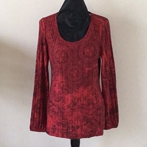 Red Floral Print Sweater by Emerald